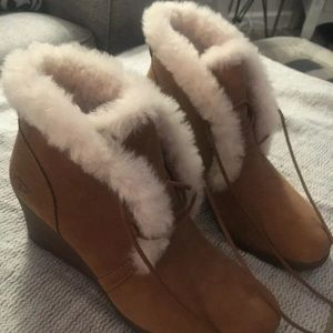 Ugg furry lace up wedge booties